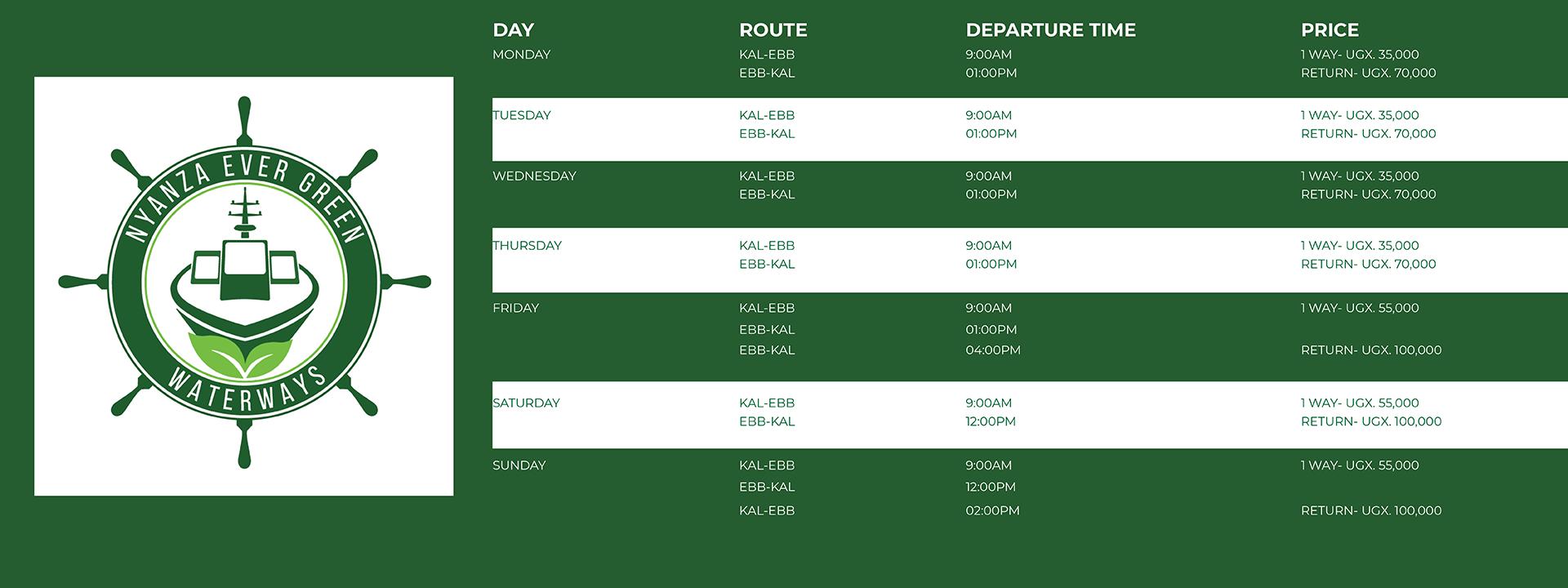 MV Vanessa timetable